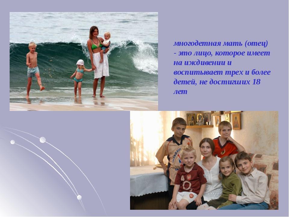 многодетная мать (отец) - это лицо, которое имеет на иждивении и воспитывает...