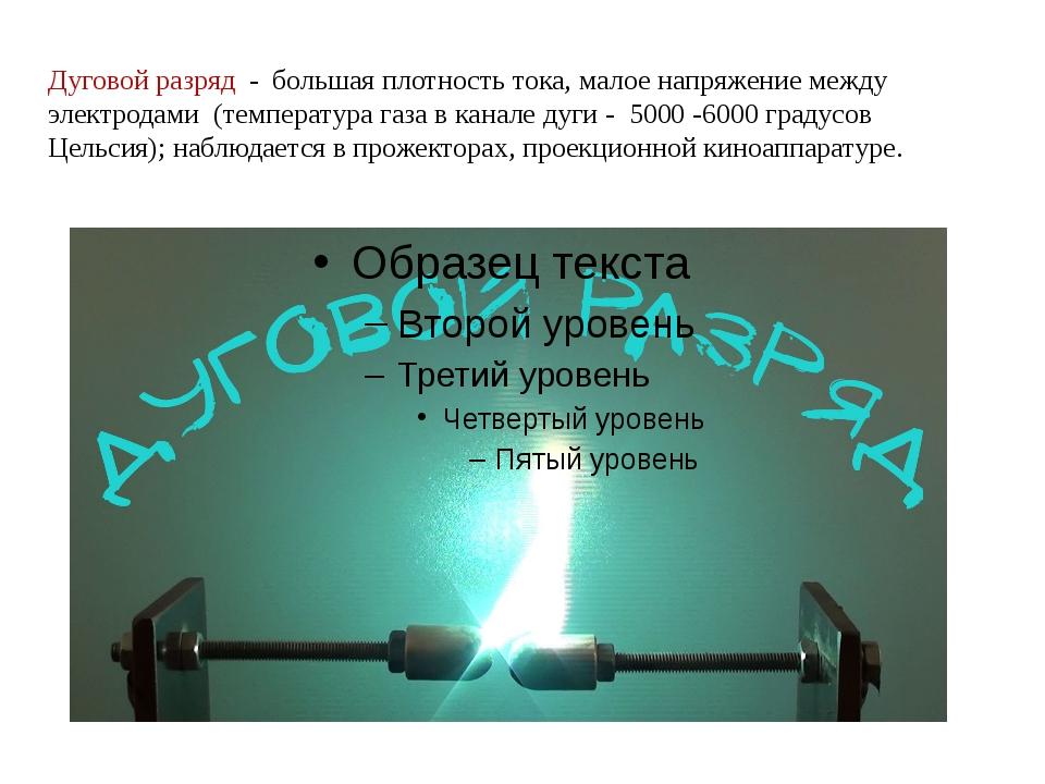 Дуговой разряд - большая плотность тока, малое напряжение между электродами (...