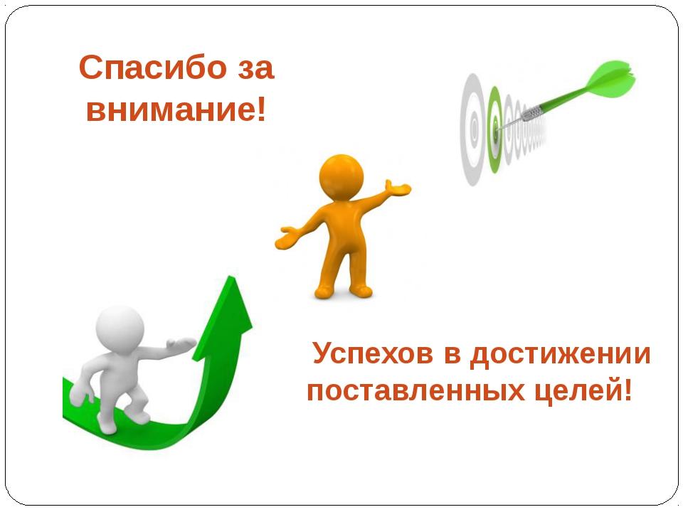 Спасибо за внимание! Успехов в достижении поставленных целей!