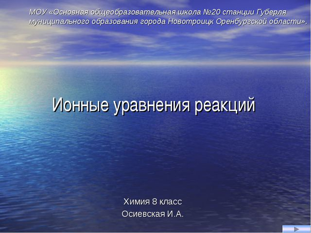 Ионные уравнения реакций Химия 8 класс Осиевская И.А. МОУ «Основная общеобраз...