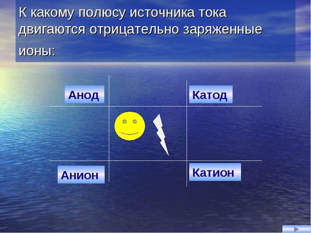 К какому полюсу источника тока двигаются отрицательно заряженные ионы: Анион...