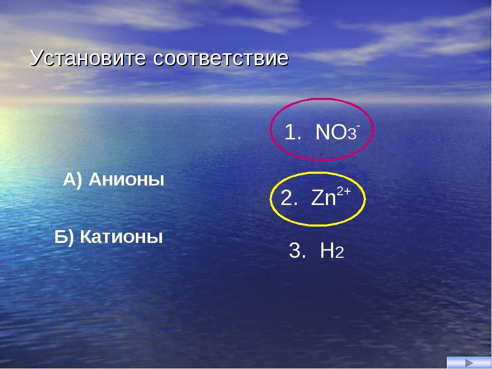 Установите соответствие Б) Катионы A) Анионы 2. Zn2+ 3. H2 1. NO3-