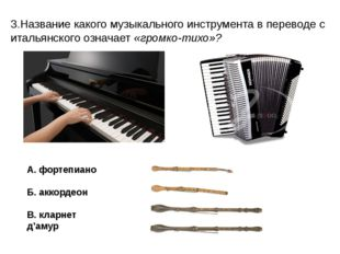 3.Название какого музыкального инструмента в переводе с итальянского означает