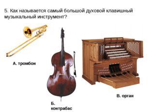 5. Как называется самый большой духовой клавишный музыкальный инструмент? А.