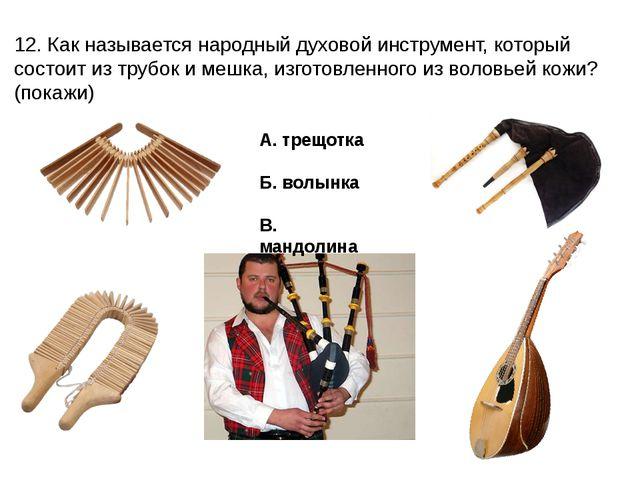 12. Как называется народный духовой инструмент, который состоит из трубок и м...
