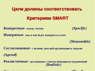 Цели должны соответствовать Критериям SMART Конкретные- ясные, четкие (Speci