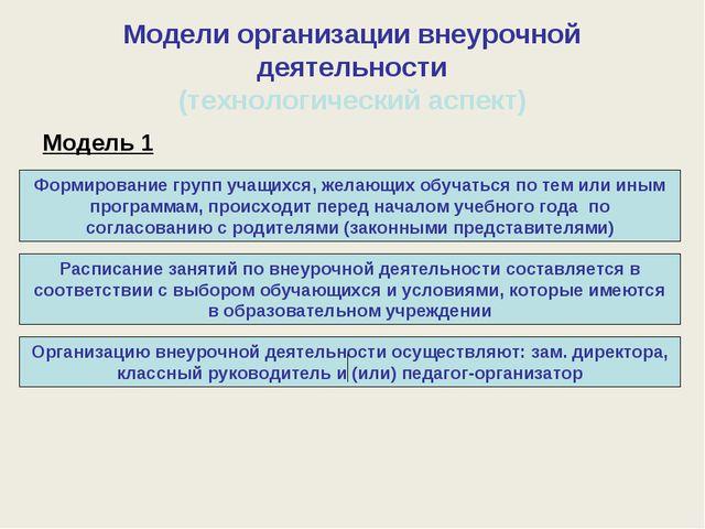 Модели организации внеурочной деятельности (технологический аспект) Модель 1...