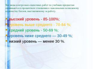 Все виды контрольно-оценочных работ по учебным предметам оцениваются в процен