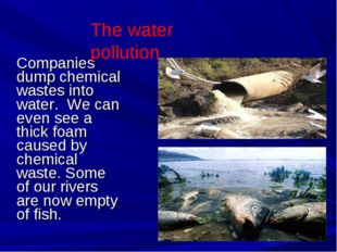 Companies dump chemical wastes into water. We can even see a thick foam cause