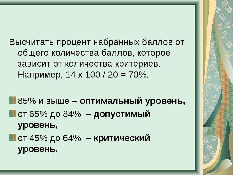 Высчитать процент набранных баллов от общего количества баллов, которое завис...