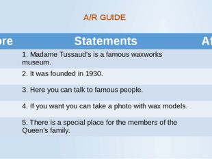 A/R GUIDE Before Statements After 1.Madame Tussaud's is a famous waxworks mus