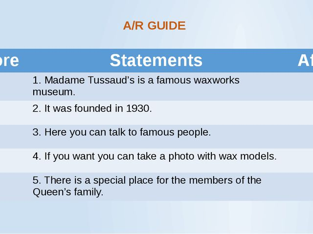 A/R GUIDE Before Statements After 1.Madame Tussaud's is a famous waxworks mus...
