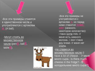 -Все эти примеры ставятся в единственном числе и употребляются с артиклем А