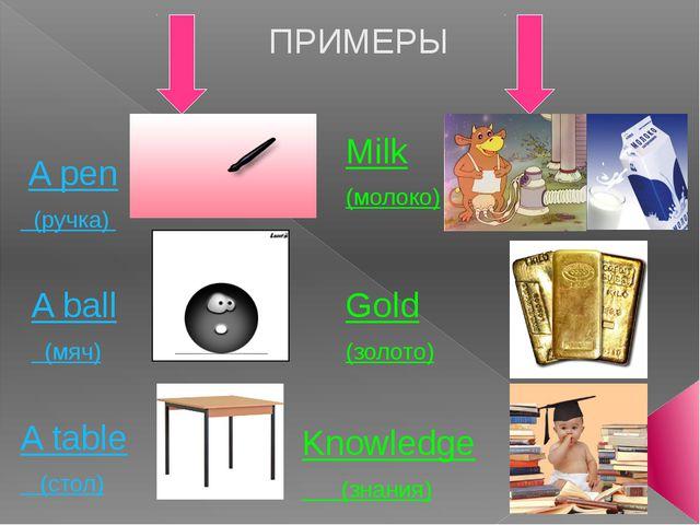ПРИМЕРЫ A pen (ручка) A ball (мяч) A table (стол) Milk (молоко) Gold (золото...