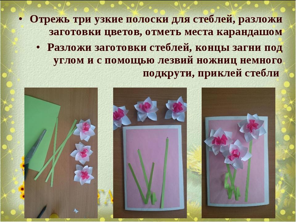 Отрежь три узкие полоски для стеблей, разложи заготовки цветов, отметь места...