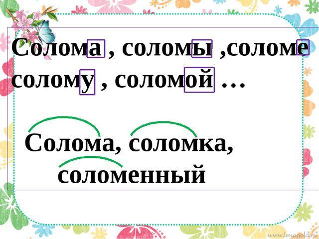 Солома , соломы ,соломе солому , соломой … Солома, соломка, соломенный