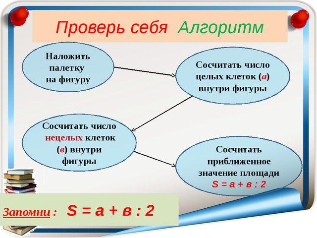 Проверь себя Алгоритм Наложить палетку на фигуру Сосчитать число целых клето...
