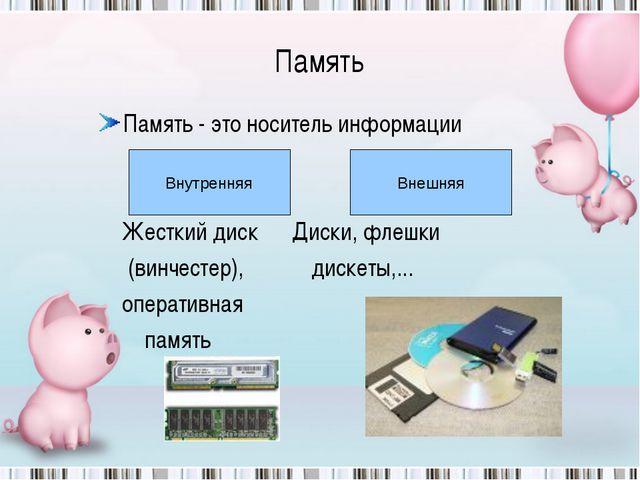 Память Память - это носитель информации Жесткий диск Диски, флешки (винчестер...