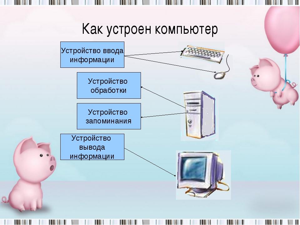 Как устроен компьютер Устройство ввода информации Устройство вывода информаци...