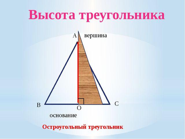 А основание В С Остроугольный треугольник вершина Высота треугольника О