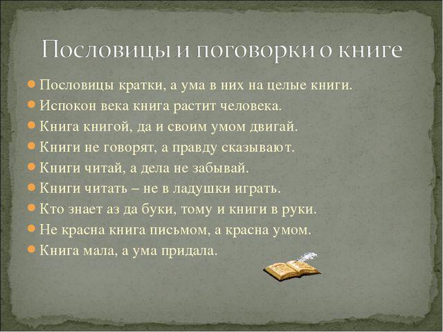 Пословицы кратки, а ума в них на целые книги. Испокон века книга растит челов...