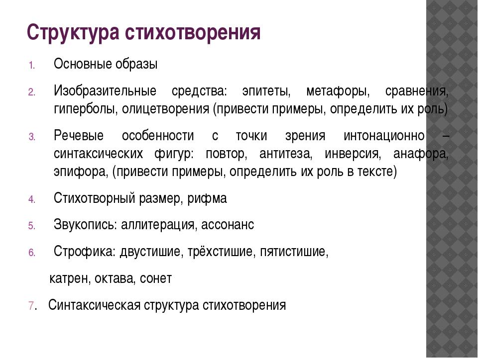 Структура стихотворения Основные образы Изобразительные средства: эпитеты, ме...