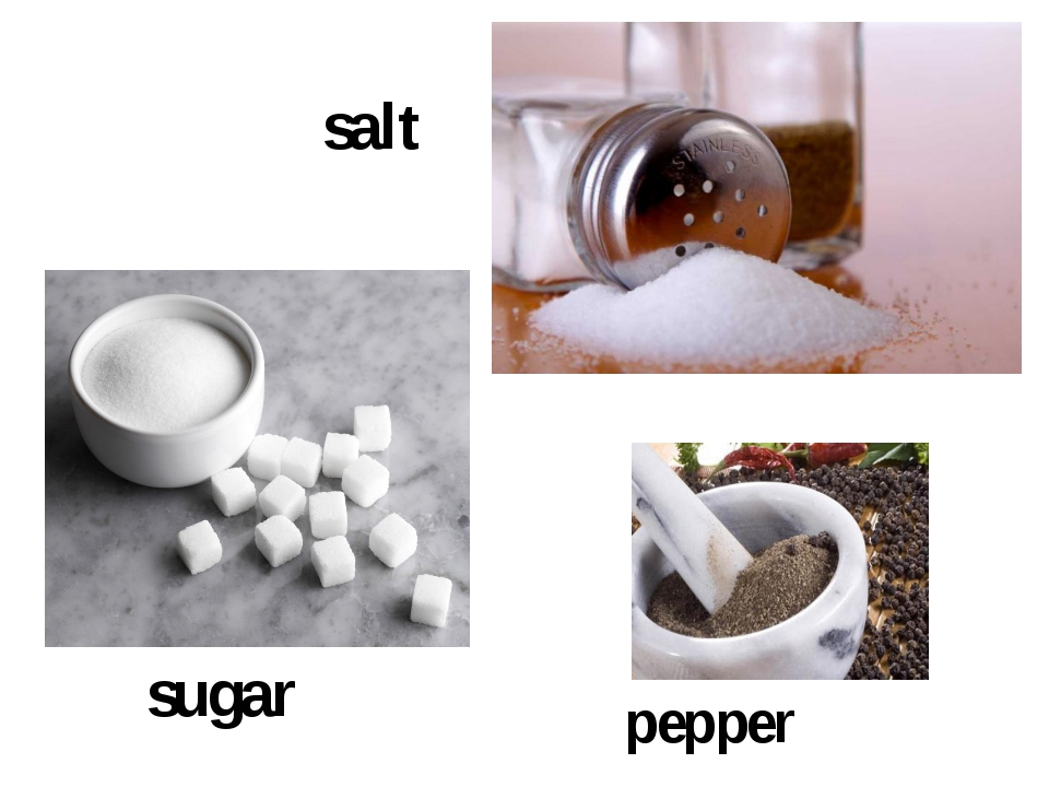 salt sugar pepper