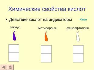 Химические свойства кислот Действие кислот на индикаторы лакмус метилоранж фе