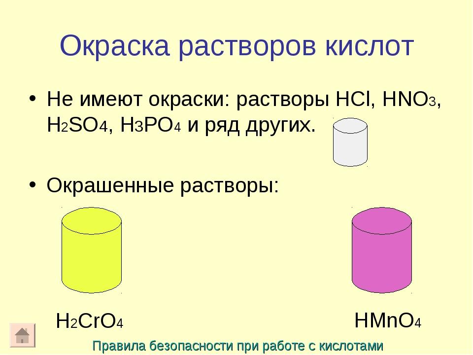Окраска растворов кислот Не имеют окраски: растворы HCl, HNO3, H2SO4, H3PO4 и...
