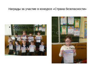Награды за участие в конкурсе «Страна безопасности»