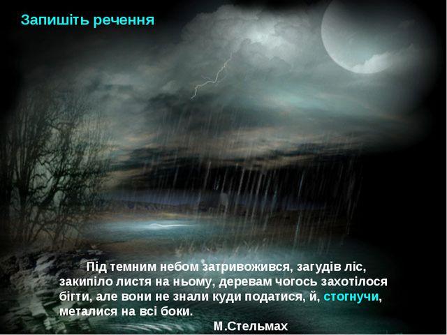Під темним небом затривожився, загудів ліс, закипіло листя на ньому, деревам...