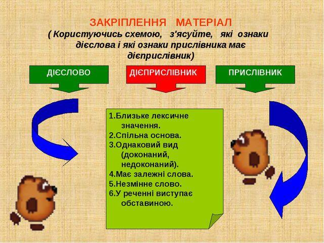 ЗАКРІПЛЕННЯ МАТЕРІАЛ ( Користуючись схемою, з'ясуйте, які ознаки дієслова і я...