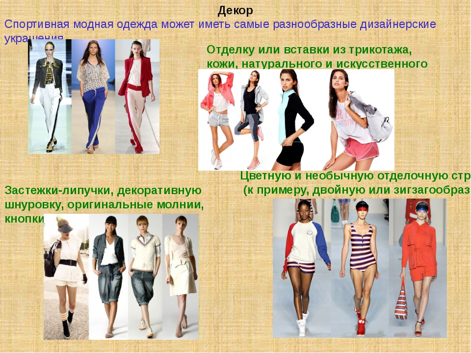 Декор Спортивная модная одежда может иметь самые разнообразные дизайнерские у...