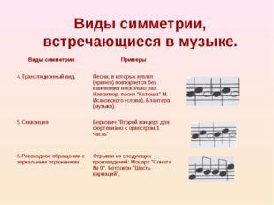 Виды симметрии, встречающиеся в музыке. Виды симметрии Примеры  4.Трансляци