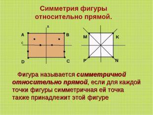 Фигура называется симметричной относительно прямой, если для каждой точки ф