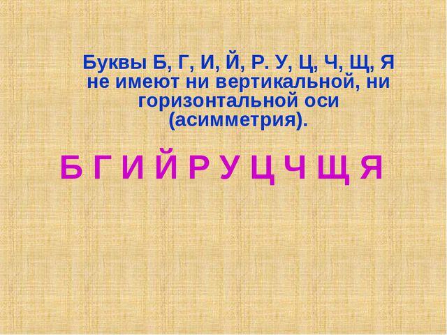 Буквы Б, Г, И, Й, Р. У, Ц, Ч, Щ, Я не имеют ни вертикальной, ни горизонтально...