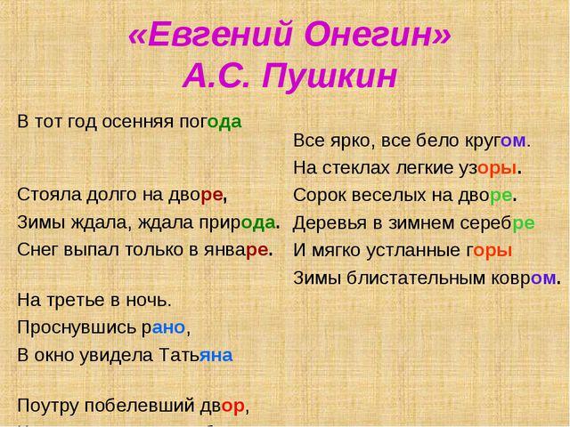 «Евгений Онегин» А.С. Пушкин В тот год осенняя погода Стояла долго на дворе,...