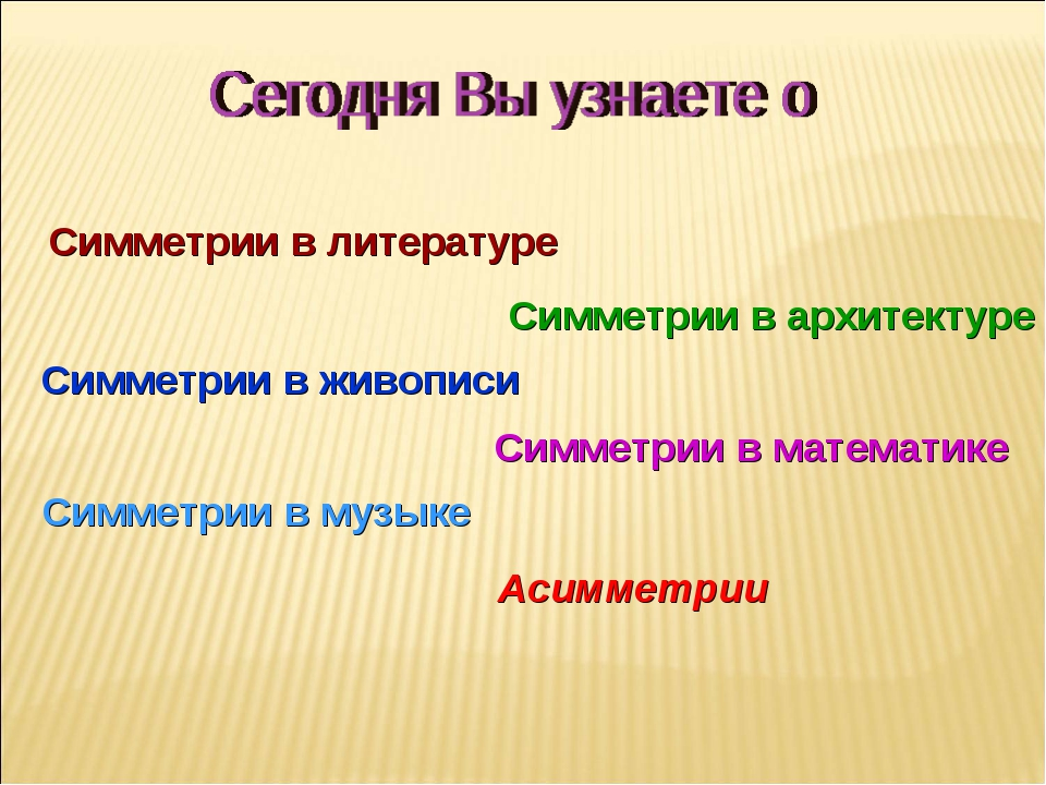 Симметрии в математике Симметрии в музыке Симметрии в литературе Симметрии в...