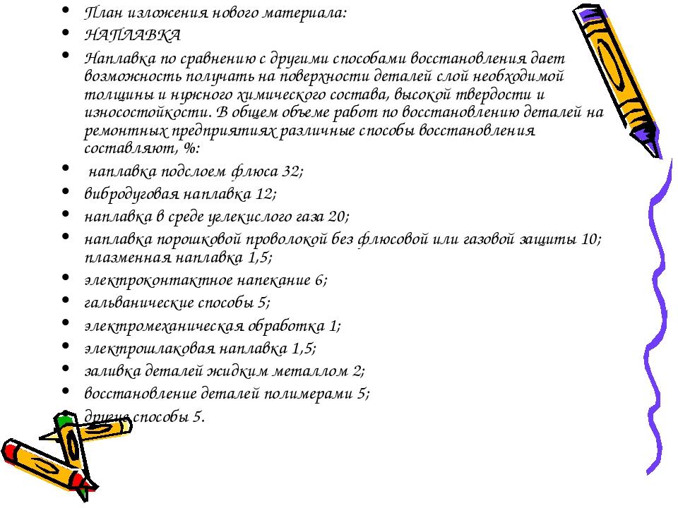 План изложения нового материала: НАПЛАВКА Наплавка по сравнению с другими спо...