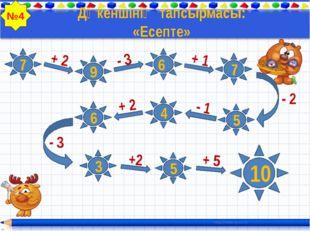 Дүкеншінің тапсырмасы: «Есепте» 7 + 2 - 3 + 1 - 2 - 1 + 2 - 3 +2 + 5 9 6 6 7