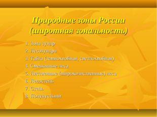 Природные зоны России (широтная зональность) 1. Зона тундр 2. Лесотундра 3. Т