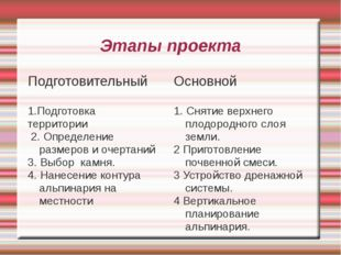 Этапы проекта Подготовительный 1.Подготовка территории 2. Определение размеро