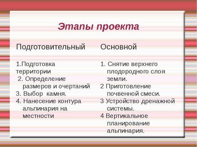 Этапы проекта Подготовительный 1.Подготовка территории 2. Определение размеро...