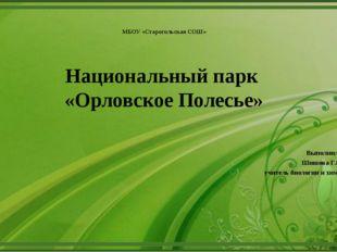 МБОУ «Старогольская СОШ» Национальный парк «Орловское Полесье» Выполнила: Ши