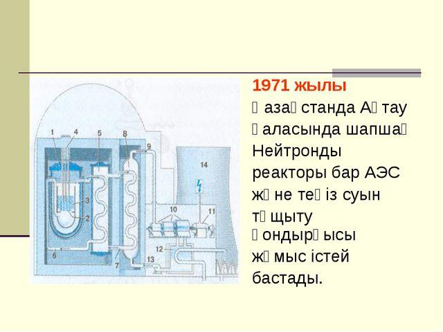 1971 жылы Қазақстанда Ақтау қаласында шапшаң Нейтронды реакторы бар АЭС және...