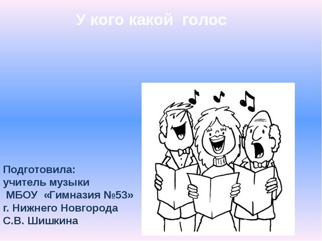 У кого какой голос Подготовила: учитель музыки МБОУ «Гимназия №53» г. Нижнего...
