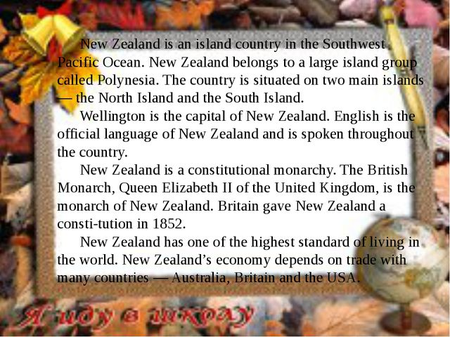 New Zealand is an island country in the Southwest Pacific Ocean. New Zealand...