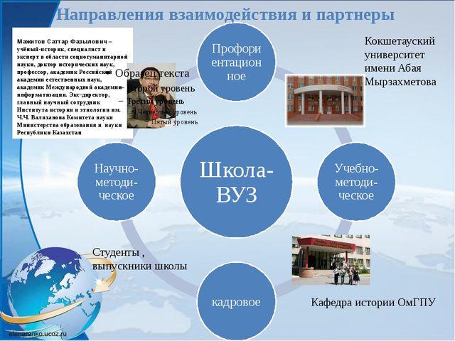 Направления взаимодействия и партнеры Мажитов СаттарФазылович– учёный-истор...