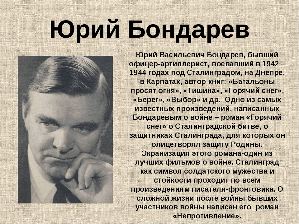 Юрий Бондарев Юрий Васильевич Бондарев, бывший офицер-артиллерист, воевавший...