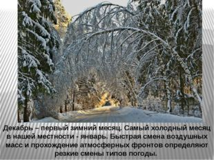 Декабрь – первый зимний месяц. Самый холодный месяц в нашей местности - январ